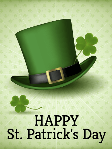 Leprechaun Hat St Patricks Day Card Birthday Greeting Cards By