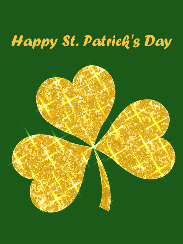 Golden Shamrock Happy St. Patrick's Day Card