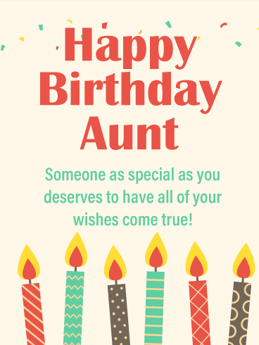 Your Wishes Come True - Happy Birthday Card for Aunt