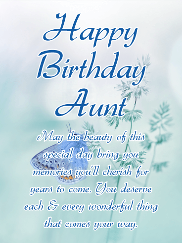 Grace Butterfly Happy Birthday Card for Aunt