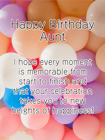 New Heights of Happiness - Happy Birthday Card for Aunt