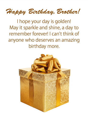 Golden Day! Happy Birthday Card for Brother