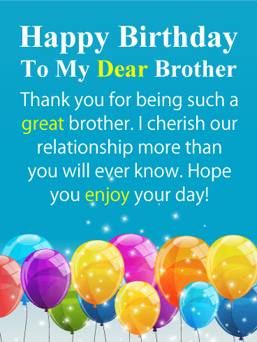 Birthday cards for brother birthday greeting cards by davia sparkling balloons happy birthday card for brother m4hsunfo