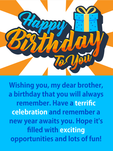 Have A Terrific Celebration Happy Birthday Card For Brother