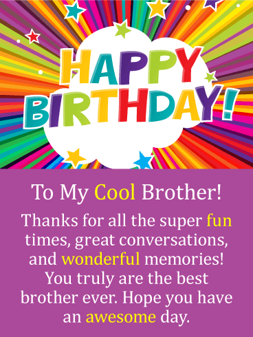 Super Fun Times - Happy Birthday Card for Brother