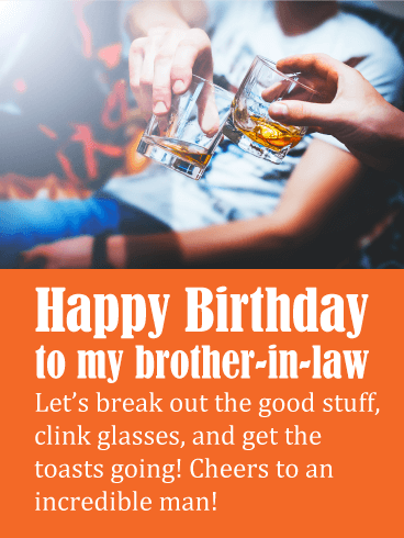 Clinking Glasses - Happy Birthday Card for Brother-in-Law