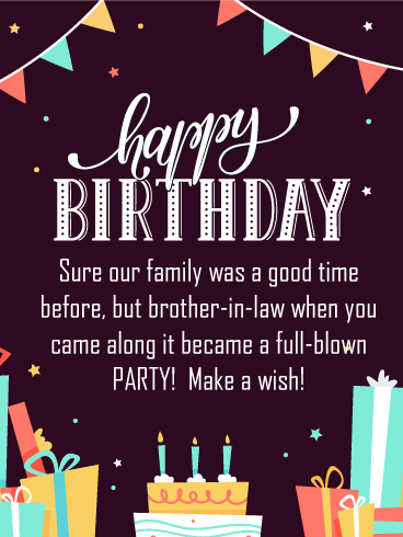 Party Banners - Happy Birthday Card for Brother-in-Law
