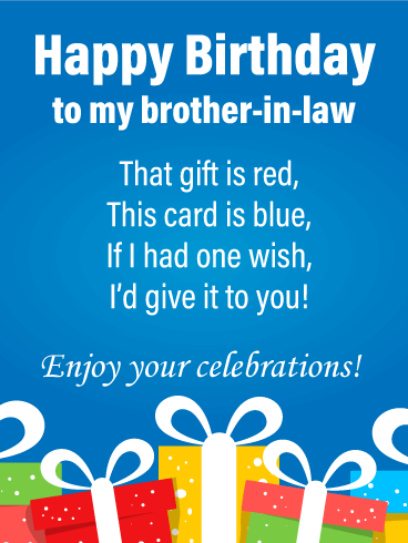 Celebratory Poem - Happy Birthday Card for Brother-in-Law