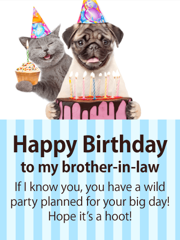 Party Animalz- Happy Birthday Card for Brother-in-Law