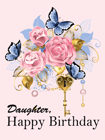 The Key to Your Happiness - Happy Birthday Card for Daughter