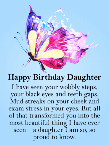 To my Beautiful Daughter - Butterfly Happy Birthday Card