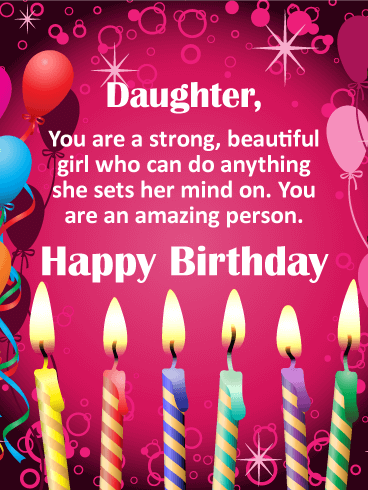 You are Strong! Happy Birthday Card for Daughter