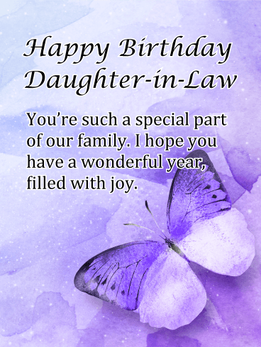 Purple Butterfly - Happy Birthday Card for Daughter-in-Law