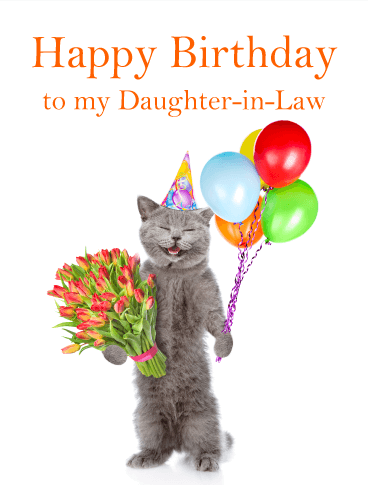Smiling Cat - Happy Birthday Card for Daughter-in-Law