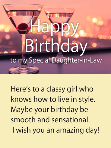 To a Classy Girl - Happy Birthday Card for Daughter-in-Law