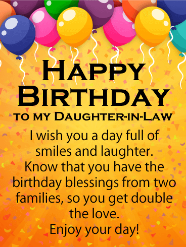 full of smile happy birthday card for daughter in law