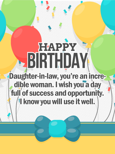 To an Incredible Woman - Happy Birthday Card for Daughter-in-Law