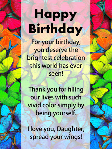 Rainbow Butterflies - Happy Birthday Card for Daughter