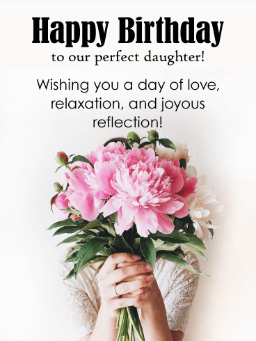 Pink Peonies - Happy Birthday Card for Daughter