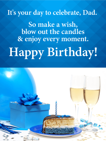 Make a Wish - Blue Happy Birthday Card for Father