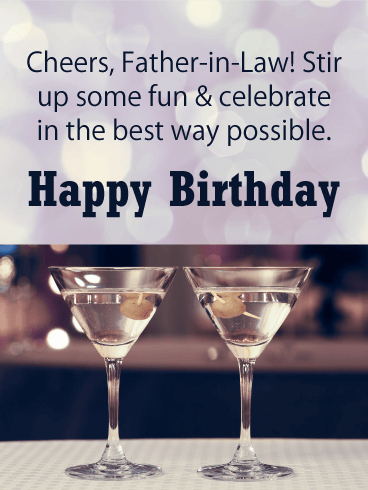Cheers Happy Birthday Card For Father In Law Birthday Greeting