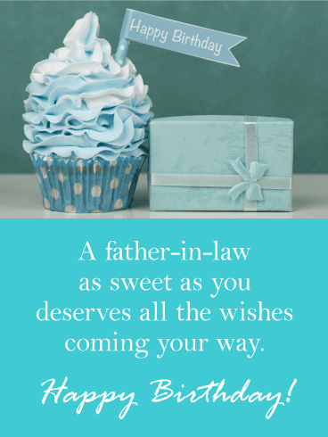 Blue Cupcake Happy Birthday Card For Father In Law