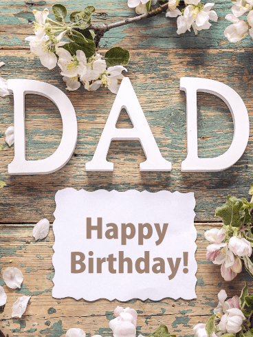 Rustic Flowers - Happy Birthday Card for Father