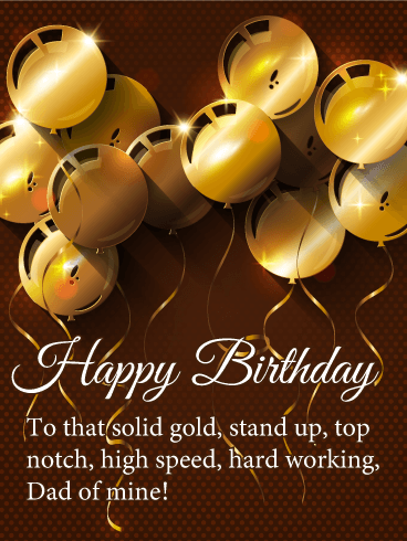 Shiny Gold Balloons - Happy Birthday Card for Father