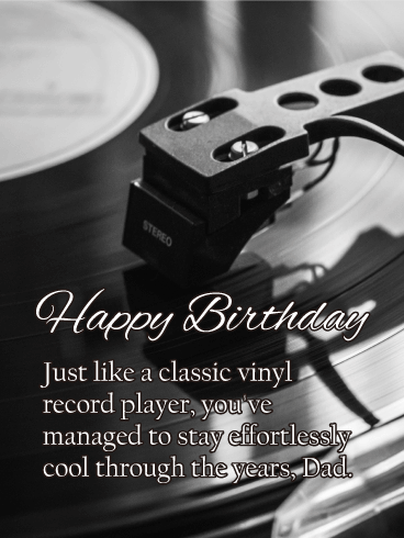 Record Player Happy Birthday Card For Father Birthday Greeting