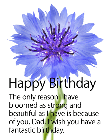 Big Blue Flower Happy Birthday Card for Father