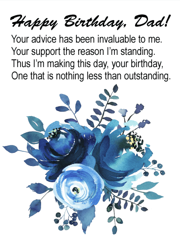 Indigo Blue Watercolor Painted Floral Happy Birthday Card For Father