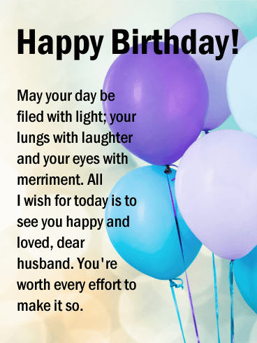 Filed with Light - Happy Birthday Card for Husband