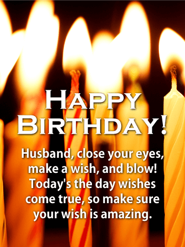 Make a Wish! Happy Birthday Card for Husband