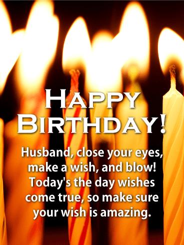 Make A Wish Happy Birthday Card For Husband Birthday Greeting