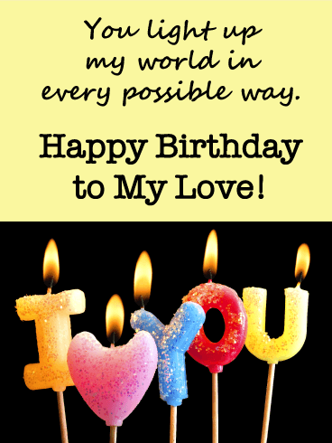 Sparkly Candle - Birthday Wishes Cards  for Lover