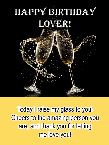 Champagne Toast - Happy Birthday Card for Lovers