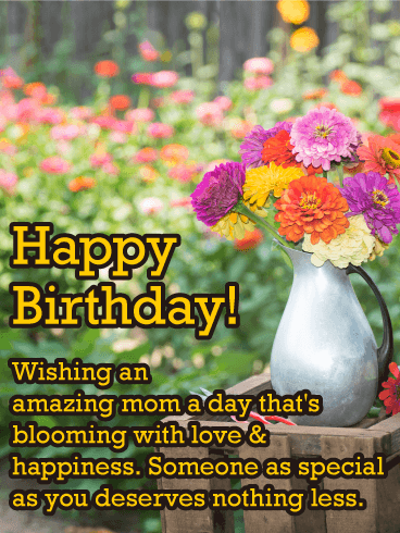 Colorful Flowers Happy Birthday Card for Mother