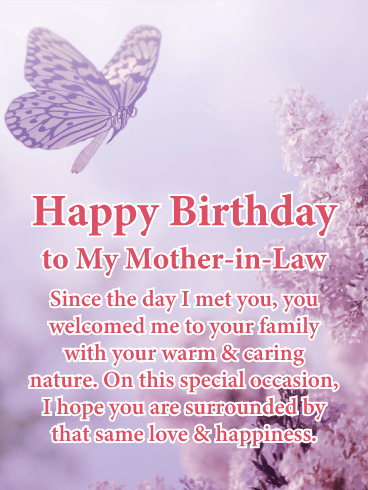 Warm & Caring Nature - Happy Birthday Card for Mother-in-Law