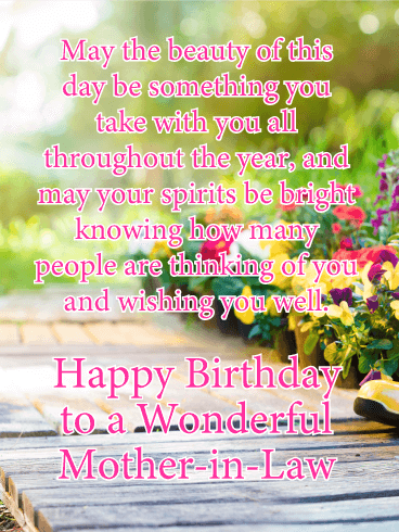Happy birthday mother in law messages with images birthday wishes may the beauty of this day be something you take with you all throughout the year m4hsunfo
