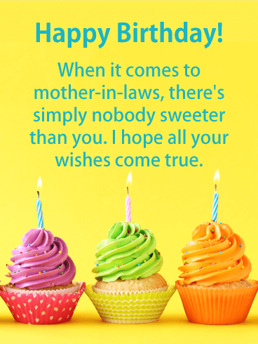 Nobody is Sweeter - Happy Birthday Card for Mother-in-Law
