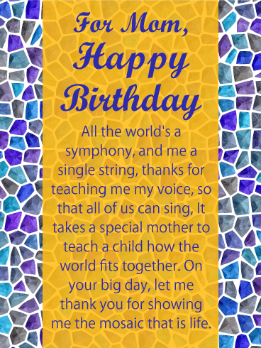 Mosaic Tiles Happy Birthday Card For Mother