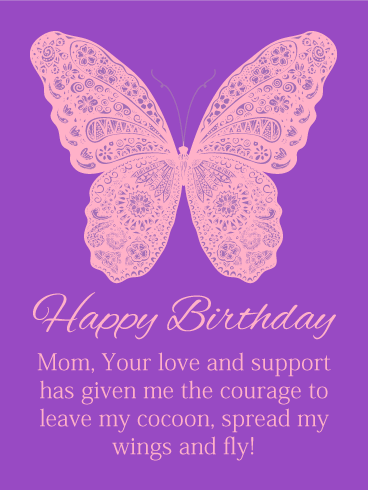 Float Like a Butterfly - Happy Birthday Card for Mother