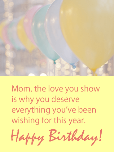 Pastel Balloon Happy Birthday Card for Mother