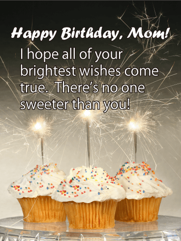 Enjoyable Three Sparkle Cupcakes Happy Birthday For Mother Birthday Personalised Birthday Cards Veneteletsinfo