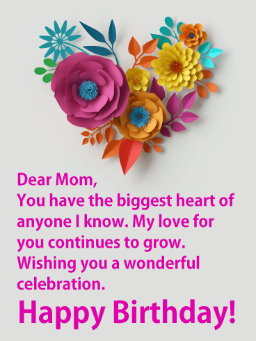 The Biggest Heart - Happy Birthday Card for Mother