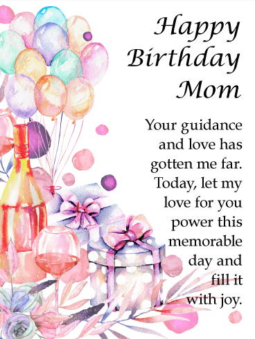 Water Paint Designed Happy Birthday Card for Mother