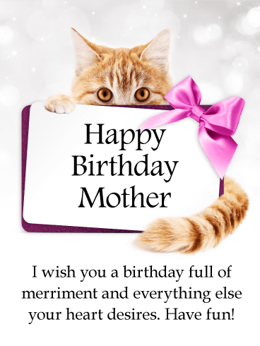 Glancing Cat - Happy Birthday Card for Mother