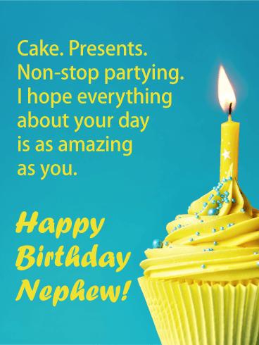 Enjoyable Yellow Cupcake Happy Birthday Cake For Nephew Birthday Funny Birthday Cards Online Sheoxdamsfinfo