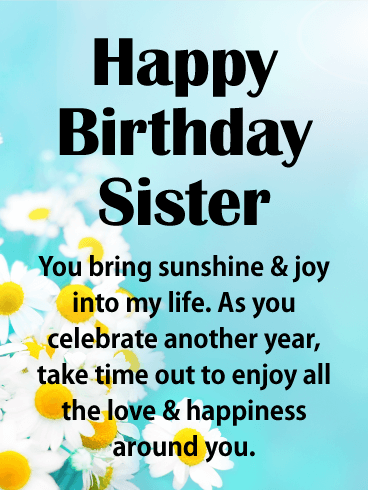 You Bring Sunshine! Happy Birthday Card for Sister