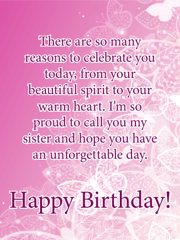 I'm Proud! Happy Birthday Card for Sister